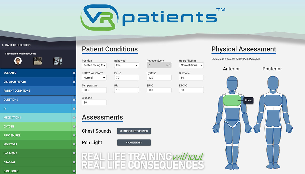 Case Authoring Tool Patient Conditions by VRpatients