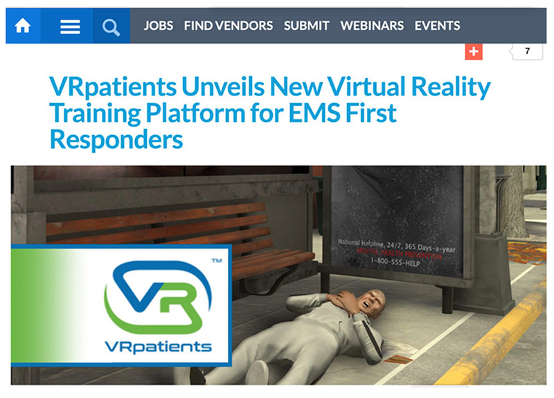 VRpatients Unveils New Virtual Reality Training Platform for EMS First Responders