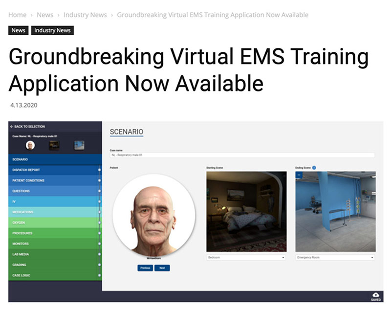 VRpatients launches its immersive Virtual Reality training application for EMS students and practitioners